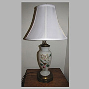 Lovely Vintage Glass Lamp, Painted  Glass w/Roses