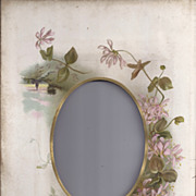 SALE Lovely Chromolithograph Page from Victorian Photo Album, Pink Vine