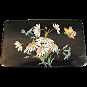 SALE Very Large Papier Mache Ladies Snuff Box, Daisies & Butterflies