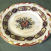Lovely 19th Century Oval Pedestal Cake Plate with Handles, Floral