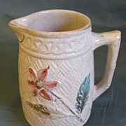 SALE Small Cream Early Majolica Pitcher, Floral, Basketweave