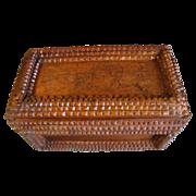Nice Antique Tramp Art Box, Chip Carved, Cigar Box Advertising