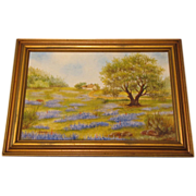 SOLD Vintage Framed Oil Painting, Texas BLUEBONNETS, Young