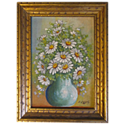 SOLD Lovely Oil Painting of White Daisies in Green Vase, E. Donaty