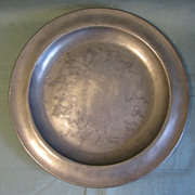 REDUCED Large Early Pewter Charger, Marked ETAIN 90% Tin with J. W. Angel Mark