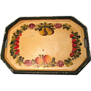 SALE Lovely Large Tole Painted Tray, Strawberries, Grapes, Pears, Peaches