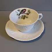 SALE Lovely Ironstone Cup & Saucer, Royal Cauldon, Pine Grosbeak