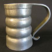 REDUCED Vintage Pewter Mug, Round Ribs, Marked B