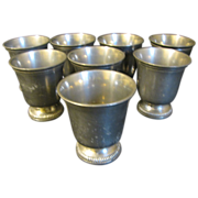 REDUCED Set of 8 Small French Pewter Beakers, ETAIN d'Art