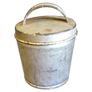 SALE Small Vintage Tin Container, Lid with Handle, Egg Coddler