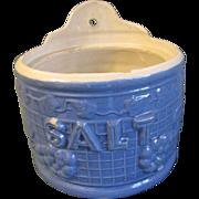 SALE Early 20th Century Blue Stoneware Salt Crock