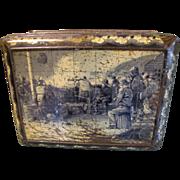 SALE Circa 1900 Colman's Mustard Tin, Large, Fisherman on Pier, Rough Sea