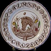 SALE Horse Lovers! ABC Staffordshire Plate W. Adams Circa 1890