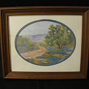 Lovely Framed Print of Texas Bluebonnets, Framed