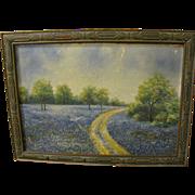 Vintage Texas BLUEBONNET Oil Painting Framed