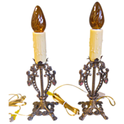SALE Vintage Pair of Candlestick Lamps, Rewired
