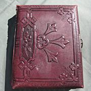 SALE Lovely Antique Victorian Leather Photograph Album, Chromolithograph Pages