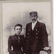 SALE Victorian Cabinet Photograph of Couple, Man in Uniform