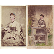 SALE Carte de Visite Photographs, Ladies in Victorian Dress, Tinted