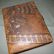 SALE Lovely Leather Victorian Photo Album 8 Chromolithograph Pages