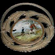SALE Wonderful French Brass Basket w/ Reverse Painting Hunt Scene