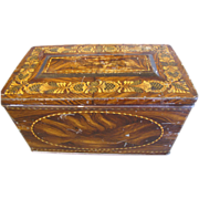 """Large Faux Wood Toffee Tin, Stationary Box, Hall's """"State"""" Toffee"""