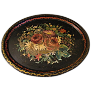 SALE Huge Black Oval Tole Tray, Floral, Early and Well Loved