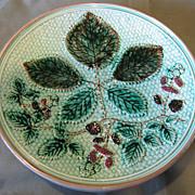 SALE Lovely Turquoise Majolica Plate, Blackberries