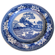 SOLD Lovely Deep Blue Transferware Plate FALLOW DEER Wedgwood