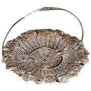 REDUCED Gorgeous Silver on Copper French Basket Birds & Grapes