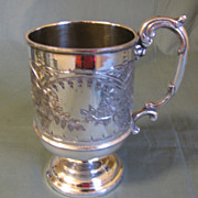 REDUCED Lovely Engraved Silver Plate Child's Cup, Marked