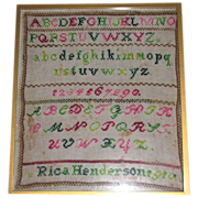 Colorful Framed Under Glass Sampler RICA HENDERSON 1910