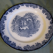 Flow Blue Dinner Plate, FORT ALEX, Gater, Hall & Co.  1899-1907