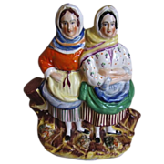 SALE Full Color Staffordshire Group Figure, Fisherwomen