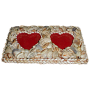 SALE Vintage Shell Covered Double Heart Photograph Frame