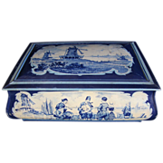 Large Biscuit Tin Chest, Delft Blue Design, Holland