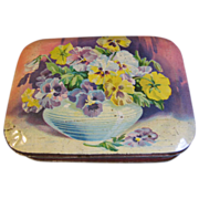 SALE Vintage Blue Bird Toffee Tin, Lovely Bowl of PANSIES