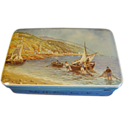 SALE Vintage Harbor Scene, Blue Bird Toffee Tin, England