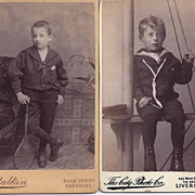SALE Pair of Carte-De-Visite Photographs, Young Boys in Sailor Suits