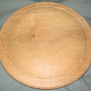 Vintage Round English Board, Carved Bread