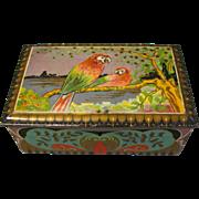 SALE Lovely Art Deco De Erveh De Jong Cocoa Tin Parrots, Circa 1920