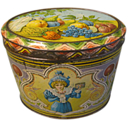 SALE Lovely Vintage Art Nouveau European Candy Tin, Oval, FRUIT