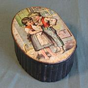 SALE Lovely Antique Papier Mache Snuff Box, Image of Children