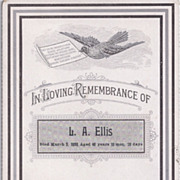 Cabinet Photo Sized Remembrance Card, L.A. Ellis