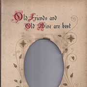 """SALE Page From Victorian Photo Album, Proverb, """"Old Friends"""""""