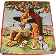 SALE Small Flat Candy Tin, Vintage, Young Artist Under an Apple Tree