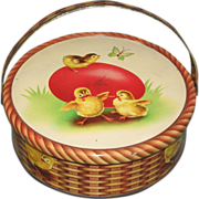 SALE Small Round Tin, Easter Basket with Egg and Chickens
