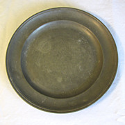 "REDUCED Vintage 9"" Round Pewter Plate, French, Stamped"