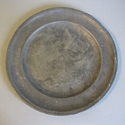 "REDUCED Vintage French Pewter Plate, 8 3/4"" Diameter"