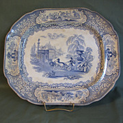 SALE Lovely Light Blue Transferware Platter, TRIUMPHAL CAR, Bell